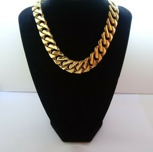 Vintage Designer Edwin Pearl Gold Chain Necklace